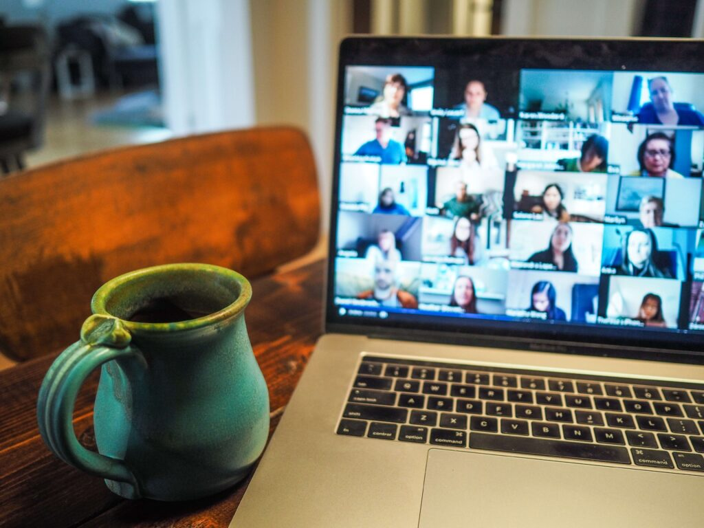Working remotely challenges on a zoom call with colleagues and clients